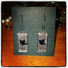 Silver Glitter with tweets earrings by Kate