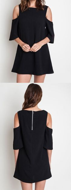 Black Open Shoulder Dress - Topshop Cold Shoulder - LBD - FREE SHIPPING - elleandk.com