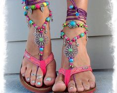 SUNFLOWER Barefoot Sandals Hippie FESTIVAL sandals Fleur de lis Toe Thongs PURPLE and Blue Statement foot wear crochet foot jewelry GPyoga