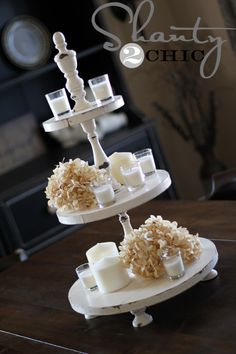 DIY:  Make This Cupcake Tower Tutorial - made from candlesticks, wood, knobs & paint