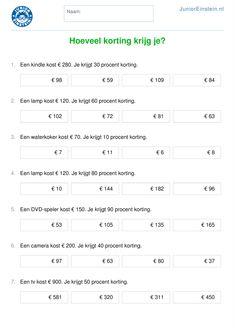 Werkblad: Hoeveel korting krijg je? [2] E 500, Fractions, Algebra, Kids Learning, Einstein, Teacher, Education, Words, Euro