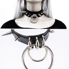 Punk Gothic Handcrafted Metal Double O Round Spiked Spikes Layered Leather Collar Choker Necklace(China (Mainland))