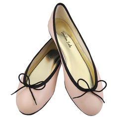 """Pirouette Ballet Pink Leather with Black Trim ~ London Sole """"Be Mine Collection"""" 15% off all red, pink & purple ballet flats Feb. 1st -14th at www.londonsole.com"""