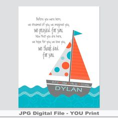 Tangerine & Aqua Sailboat.  Personalized PRINTABLE with Bible Verse or quote.  Baptism, Christening, Baby, Shower Gift. Nautical Theme. on Etsy, $10.00