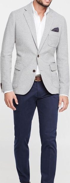 Lyst blazer outfits men, blazer for men fashion, blue blazer outfit men Gray Blazer Men, Grey Blazer Outfit, Blazer Outfits Men, Casual Outfits, Dress Casual, Chinos And Blazer Men, Gray Jacket, Blazer Suit, Mens Fashion Suits
