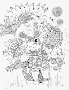 Sunflower and Rabbit Coloring Page by ExquisiteInkByCady on Etsy