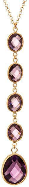 Rivka Friedman 18K Gold Clad Amethyst Crystal Y-Drop Linear Pendant Necklace