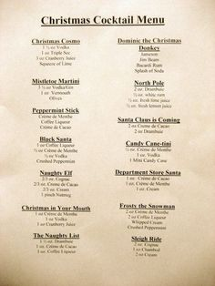 Get Your Drink On: Christmas Cocktail Menu - - Christmas Cocktail Party, Holiday Cocktails, Christmas Drinks Alcohol, Christmas Shots, Christmas Sangria, Classic Cocktails, Christmas Things, Holiday Alcoholic Drinks, Martini Classic
