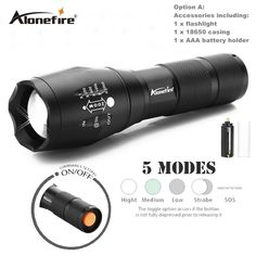 AloneFire E17 CREE XML T6  ZOOM LED Flashlight Torch Powerful XM-L Adjustable 18650 Flash Light Lamp Waterproof Tactical torch