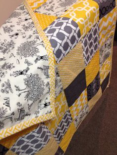 Patchwork Cot Quilt Made in Australia Yellow Gray by SnugglyJacks