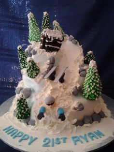 Ryan's 21st skiing cake from my fb page Kelly's cakes with flair