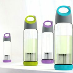 Just Life Portable Glass BPA Free Water Bottle with Sleeve Tea Fruit Infuser 16.2 Ounce(Green, Blue, Purple, Random Delivery)