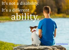 It's not a disability.  It's a different ability. #autism www.thefate.org Disability Awareness, Autism Awareness, Special Needs Quotes, Human Food For Dogs, Growth Mindset Posters, Inclusive Education, Dog Ages, Social Behavior, Animal Nutrition