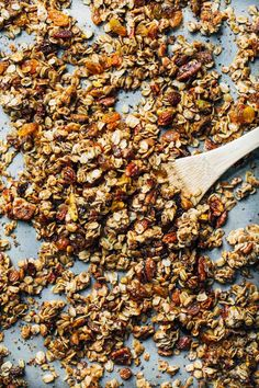 coconut oil granola with oats, nuts, dried fruit and no refined sugar.
