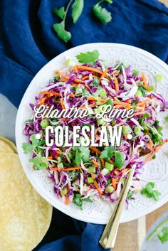 This Cilantro-Lime Coleslaw is perfect for sandwiches, tacos, or as an easy side dish. It's always in my fridge!