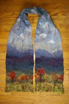 landscape scarf - wool felting