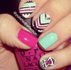 Tribal, mint and hot pink