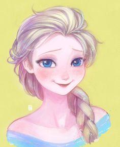 "Elsa from ""Frozen"" - Art by akapost.tumblr.com"