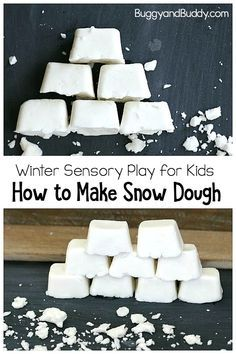 Make your own homemade snow dough! DIY white playdough with the perfect crumbly texture for pretend snow. Use it as a STEM activity for building or just a simple sensory play material! Winter Activities for Kids Snow Activities, Winter Activities For Kids, Winter Crafts For Kids, Winter Kids, Preschool Winter, Winter Crafts For Preschoolers, Winter Preschool Activities, January Preschool Themes, Weather For Kids