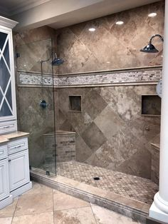 Top 6 Bathroom Shower Tile Ideas Your shower is more than just there for function. It's a massive ornamental element in your shower room as well as might have a big impact on your house's total ROI. If your shower is l… Master Bathroom Shower, Bathroom Renos, Small Bathroom, Basement Bathroom, Tuscan Bathroom, Mediterranean Bathroom, Bathroom Furniture, Shower Ideas Bathroom, Bathroom Shower Remodel