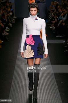 A model walks the runway at the MSGM Autumn Winter 2015 fashion show during Milan Fashion Week on March 1, 2015 in Milan, Italy.