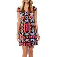 Laundry by Shelli Segal Print Lattice Inset Shift Dress ($225) ❤ liked on Polyvore featuring dresses, black, short sleeve dress, v neck dress, print shift dress, geometric pattern dress and v neck a line dress