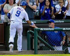 chicago cubs 9\11\15 | Javier Baez (9) and Chicago Cubs manager Joe Maddon (70) after Baez's ...