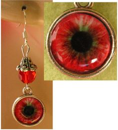 Red Vampire Eye Charm Dangle Earrings Handmade Jewelry Women Accessories #Handmade #DropDangle