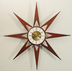 elgin mid century wall clock | Mid Century Modern Starburst Clock by Elgin. Atomic Sunburst Wall ...