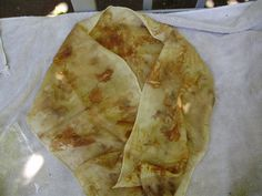 Silk Wool Scarf Hand Dyed  Natural Plant Dye Eco Print Leaf. $25.00, via Etsy.