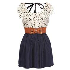 Zeagoo Women's Fashion High Waist Casual Dots Short Dress with Belt