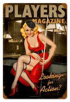 Player Pinup 12 x 18 Vintage Metal Sign | Man Cave Kingdom - $38