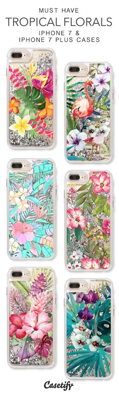 Must Have Tropical Florals iPhone 7 Cases & iPhone 7 Plus Cases. More protective liquid glitter iPhone case here > https://www.casetify.com/en_US/collections/iphone-7-glitter-cases#/?vc=GZF9xJ4hmW