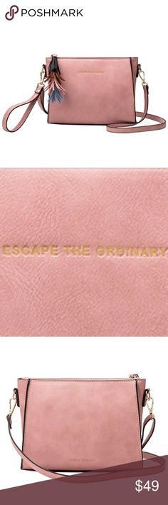 "Melie Bianco Pink Byron Quote Crossbody & Tassels HERE ❣️ Melie Bianco Pink Byron Quote Crossbody with Leather Tassels. Premium Vegan Leather Middle Zipper Interior Zipper Pocket Additional Wristlet Strap Included Gold Embossing ""ESCAPE THE ORDINARY"" Polka Dot interior lining. Dimensions: 9'L x 3'W x 6H' Color: Pink PETA Approved Ethical Vegan Leather. Price is Firm Unless Bundled. Melie Bianco Bags Crossbody Bags"