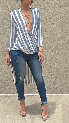 Glamaker Swallowtail striped women blouse shirt 2016 Autumn long sleeve deep v neck loose casual blouse blusas Party sexy tops Work Casual, Casual Chic, Casual Looks, Chic Outfits, Spring Outfits, Fashion Outfits, Mode Style, Look Fashion, African Fashion