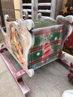Woodworking Epoxy Resin, Woodworking Table Saw, Woodworking Toys, Woodworking Patterns, Woodworking Supplies, Christmas Decoupage, Christmas Wood Crafts, Christmas Decorations, Christmas Sled