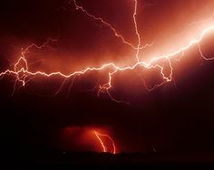 Lightning Storm In Red