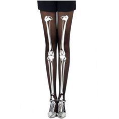 Black Skeleton Print Tights ($5.90) ❤ liked on Polyvore featuring intimates, hosiery, tights, pants, socks, black hosiery, hanes hosiery, black pantyhose and pantyhose
