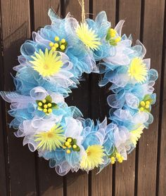 Soft whimiscal blue white and yellow deco mesh wreaths adorned with beautiful flowers beautiful bright colors. This wreath measures 22 Wreath Crafts, Diy Wreath, Wreath Ideas, Wreath Making, Tool Wreath, Mesh Wreath Tutorial, Diy Spring Wreath, Spring Crafts, Easter Wreaths