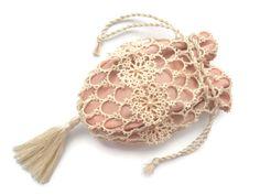 Tatted lace bag - Reticule - Drawstring bag