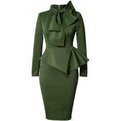 Rotita Peplum Waist Bowknot Embellished Army Green Dress (443.220 IDR) ❤ liked on Polyvore featuring dresses, army green, green long sleeve dress, cotton midi dress, sheath dress, long sleeve midi dress and long sleeve cotton dress