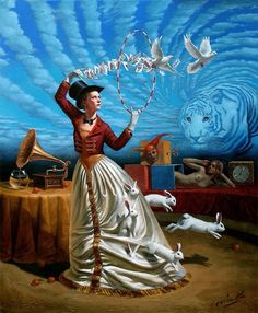 """Michael Cheval # 47 Magic of Trivial Illusions 30"""" x 24"""", oil on canvas, 2012…"""