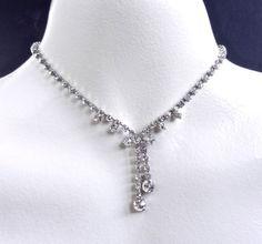 Vintage Rhinestone Necklace - Mid Century Silver Tone Dangle Necklace / Rhinestone Y