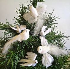 White Dove Mix Christmas Tree Ornaments From Lamplight Feather
