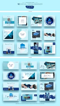 Blue Sky Social Media Designs by Evatheme Market on Creative Market Web Design, Layout Design, Social Media Design, Social Media Branding, Social Media Banner, Social Media Template, Social Media Graphics, Instagram Design, Instagram Feed