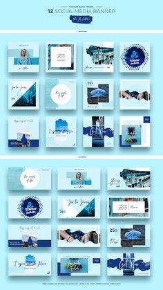 Blue Sky Social Media Designs by Evatheme Market on Creative Market Web Design, Layout Design, Social Media Design, Social Media Branding, Social Media Banner, Social Media Template, Social Media Graphics, Instagram Design, Instagram Feed