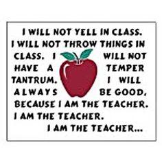 I am the teacher. Funny!