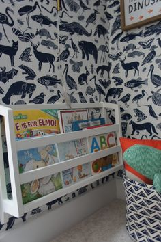 Kids Reading Nook with Removable Wallpaper - Biggest Little Dreamer Attic Bedrooms, Kids Bedroom, Rental Home Decor, Reading Nook Kids, Animal Print Wallpaper, Painted Floors, Pottery Barn Kids, White Walls, Diy For Kids