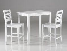 MELISSA-baarisetti valkoinen (pöytä 91x60cm ja 2 tuolia)