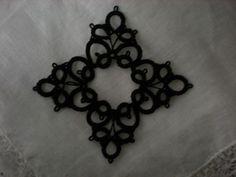 Black Four Corner Tatted Lace Medallion. | designedkeepsakes , etsy